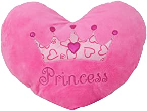 "Princess Heart Pillow 15"" Inches Pink Minky Throw Pillow"