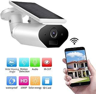 HD 1080P Wi-Fi Cámara IP Alimentada por Energía Solar Impermeable Cámara de Seguridad Exterior con Batería Visión Nocturna Detección Movimiento