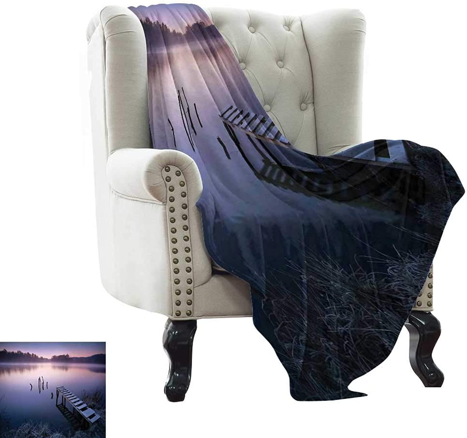 WinfreyDecor Super Soft BlanketsMisty Lake Wooden Pier Distant Forest in Early Morning Fantasy Dreamy Sofa Chair 70  Wx93 L