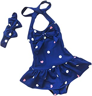 Baby Toddler Girls One Piece Swimsuit Bowknot Polka Dot Bathing Suit Swimwear with Headbands