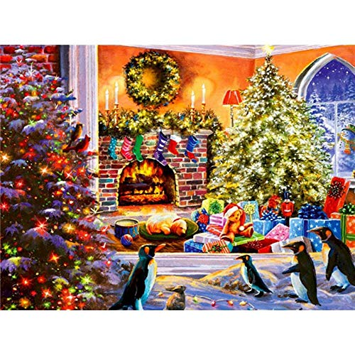 Paint by Numbers Kits 40cm x 50cm Canvas DIY Acrylic Painting for Adults and Kids with Paints, Brushes - Christmas Penguin (DIY Wooden Frame)