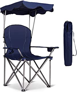 Sponsored Ad - Goplus Outdoor Canopy Chair, Heavy Duty Camping Chair Durable Folding Seat w/Cup Holder and Carry Bag (Blue)