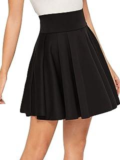 SweatyRocks Women's Basic High Waist Stretchy Flared Mini Skater Pleated Skirt