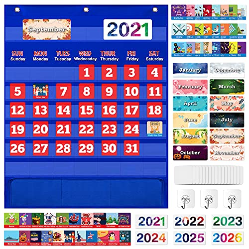 Monthly Calendar Pocket Chart with 114 Cards for Kids Learning Home Classroom School Supplies Suitable for Ages 3+ Boys Girls Homeschool - Blue