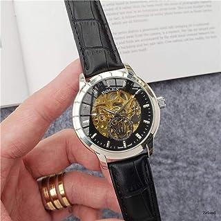 yuge - Reloj mecánico automático de Moda Hombre, Reloj Esqueleto Resistente al Agua, Correa de Cuero para Hombre y Mujer, 95 8
