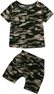 Iuhan Toddler Baby Boys Girls Camouflage Clothes Infant T Shirt Tops+Shorts Outfits