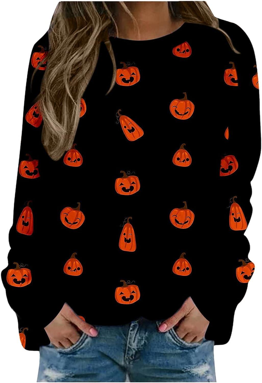 Leirke Long Sleeve Halloween Shirts for Women Funny Pumpkin Graphic Sweatshirts Bat Print Crewneck Sweatshirts Tops