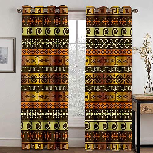 FSMYQH Cortinas Salón Opacas Aislantes Térmicas Estampado Dorado Cortinas Opacas para Ventanas Dormitorio Salón Moderno 234 x 137 cm