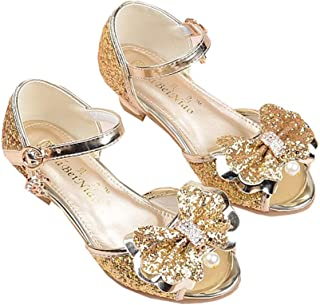 a943dea676aa wangwang Toddler Girls Princess Sandals Sparkly Low Heels Wedding Party  Dress Shoes