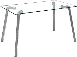 MOMMA HOME Mesa de Comedor - Modelo Alma - Color Tranparente/Gris - Material Cristal Templado/Metal - Medidas 140 x 80 x 75 cm