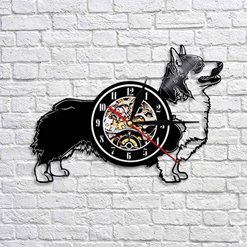 Wanduhr aus Vinyl Strickjacke Welsh Corgi Hund Wanduhr Kreative Tier Welpen Schallplatte Uhr Quarz Zeit Uhren Geschenk Für Haustier Liebhaber 12 Zoll Xi269