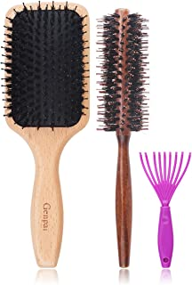 Genpai Boar Bristle Hair Brush with Nylon Pins, Square Air Cushion Massage Comb Wood Comb for Women and Men, Improve Hair Quality and Increase Hair Shine Suitable for Any Hair