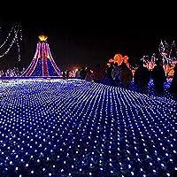 ネットフェアリーライト、ネットライト、LEDストリングライト、LEDフェアリーライト、クリスマスライト、クリスマスバースデーパーティーウェディングガーデンデコレーション用8モードストリングライト、テール付き、(ブルー)