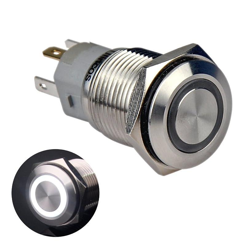 精査助手変更可能Ulincos モーメンタリ 防水スイッチ IP67 押しボタンスイッチ U16F1 1NO1NC SPDT シルバー ステンレススチール 12Vホワイト LED 16mm (白) カプラー付き