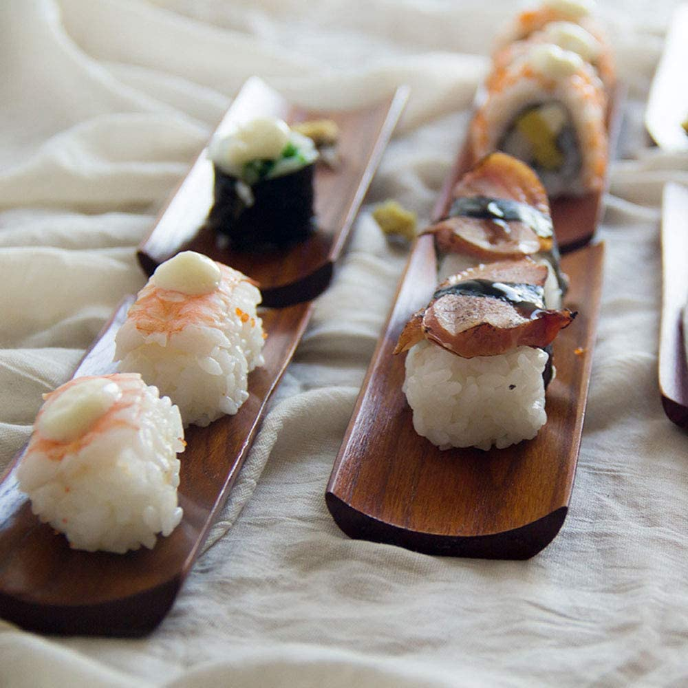 SUPARO Natural Wooden Rectangular Serving Platter A Sushi Serving Tray Plate Japanese Style Tableware Dumplings Serving Board Dessert Plate