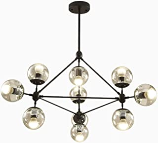 Lightess Vintage Chandelier Black, 10-Light DNA Pendant Light with Globe Glass Shade for Farmhouse Dining Room Kitchen, DY5213