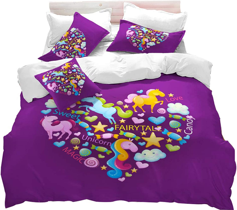 Duvet Cover Set, Cartoon Unicorn Printed Quilt Cover Twin Size, Purple Girls 3 Pieces Bedding Set Home Decor Kids Bedding