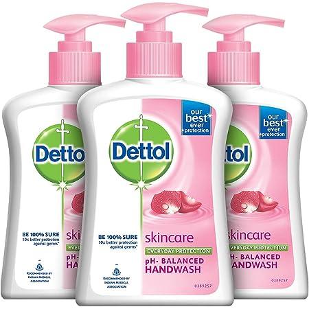 Dettol Liquid Handwash Dispenser Bottle Pump - Skincare Moisturizing Hand Wash (Pack of 3 - 200 ml each) | Antibacterial Formula | 10x Better Germ Protection
