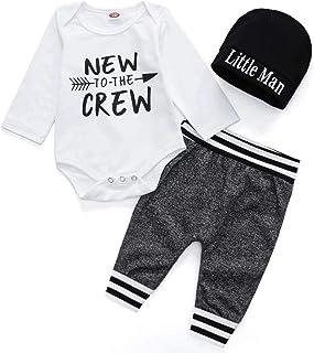 Sponsored Ad - Tikoubabe Newborn Baby Boy Outfits Clothes Infant Cotton Cute Hipster Romper + Long Pants + Hat 3 Pcs