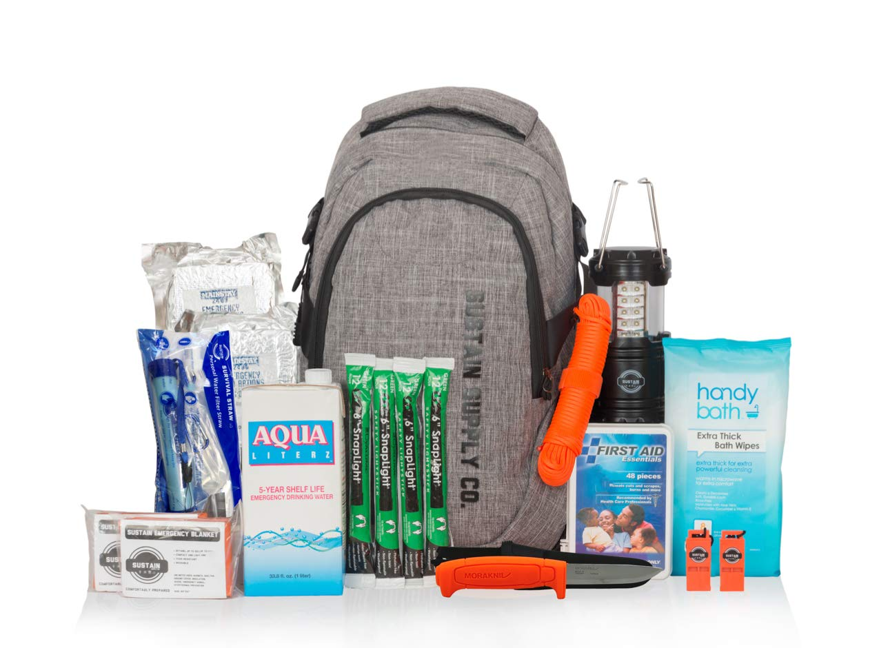 Basic, Essential 2-Person Emergency Survival Bag/Kit – Be Equipped for 72 Hours of Disaster Preparedness with Premium Basic Supplies for 2 People