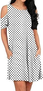 OFEEFAN Women's Cold Shoulder Tunic Top T-Shirt Swing Dress Pockets