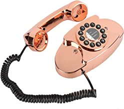 $167 » SXRDZ Antique Corded landline Phone Retro Desktop Rose Gold Numbered Business Wired Phone Dialing Classic Decoration Gift ...