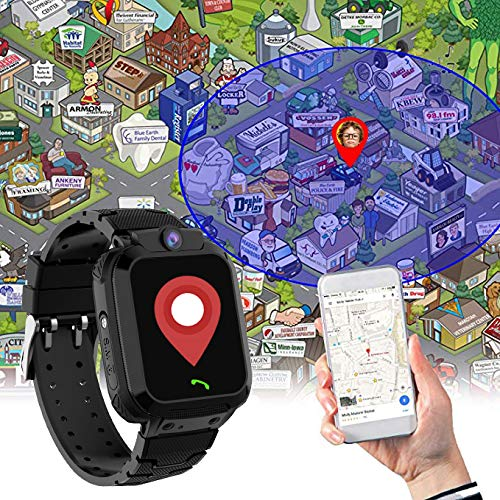 GPS Smartwatch Kinder Armband Wasserdicht - GPS Uhr Kinder Smart Watch Kleine Geschenke für Mädchen Junge, Intelligente Armbanduhr Kinder Telefon Anruf Sprachnachricht SOS Schrittzähler