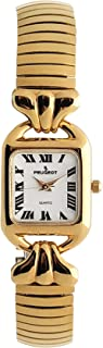 Peugeot Women 14KT Gold Plated Wrist Watch - Easy Reader with Flexible Expansion Bracelet