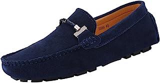 Jamron Hommes Élégant Boucle Loafers Confortable Daim Chaussures de Conduite Stylées Mocassin Slippers