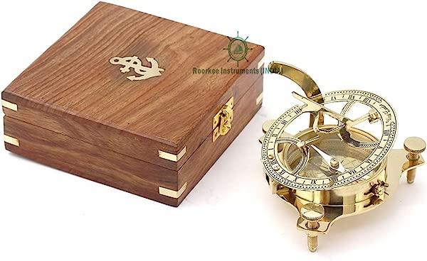 鲁尔基工具印创意男士复古闪亮的黄铜罗盘木盒西伦敦定向指南针导航日规袖珍罗盘的露营徒步旅行