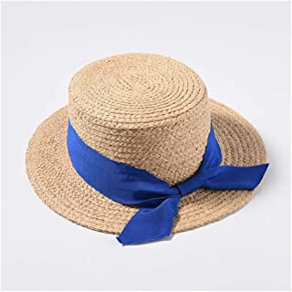 New Lafite Straw hat Spring and Summer hat Female Korean Version Flat top Short Ribbon Sun Visor Student Straw hat` TuanTuan (Color : Blue)