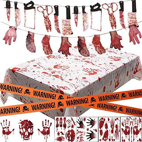 DecoracióN de Halloween, Bst4U 26PCS Cuchillo de Sangre Mano Ensangrentada Pancarta de Pie Sangriento, CalcomaníA de Ventana de Ensangrentada, Mantel Palma Ensangrentado Y Cinta de Crimen de Halloween