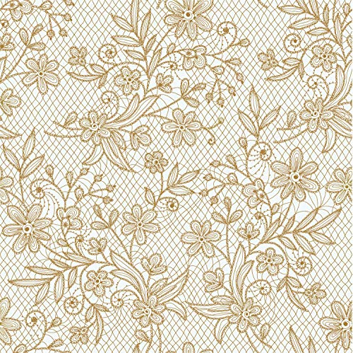 Exquisite 12 Pack Premium Plastic Tablecloth - Floral Design Printed Disposable Plastic Tablecloth (Gold)