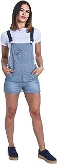 USKEES Ladies Dungaree Shorts - Hickory Stripe Bib-Shorts Overalls