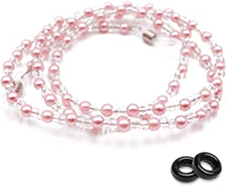 Kalevel Eyeglass Sunglasses Chains for Women Pearl Beaded Glasses Holder Strap Necklace Adjustable with Bonus