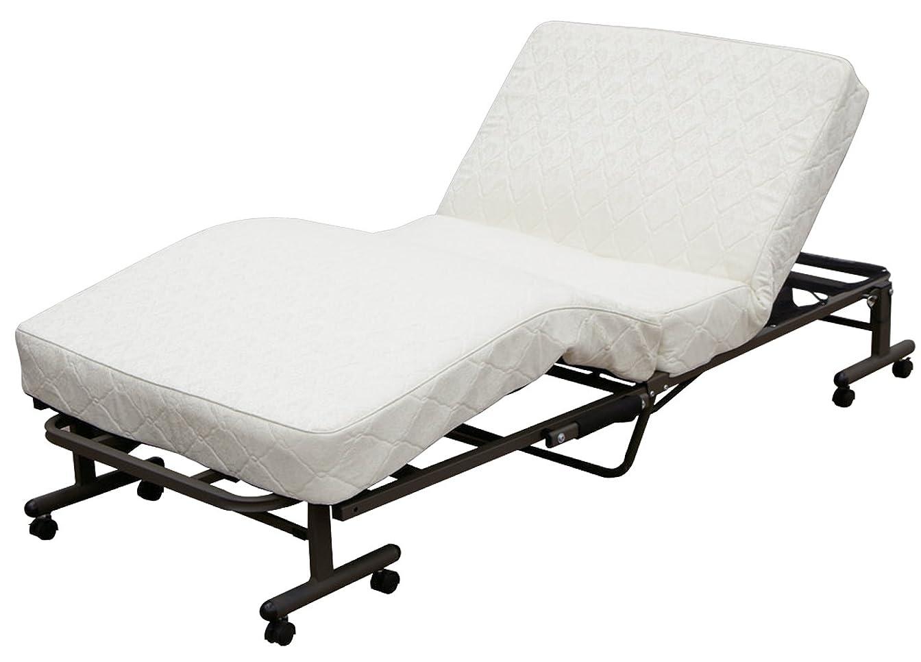 チーターベッドを作るラックアイリスオーヤマ ベッド 折りたたみベッド 電動ベッド シングル 収納  高反発 リクライニング  コイルタイプ 完成品 ホワイト OTB-CDN