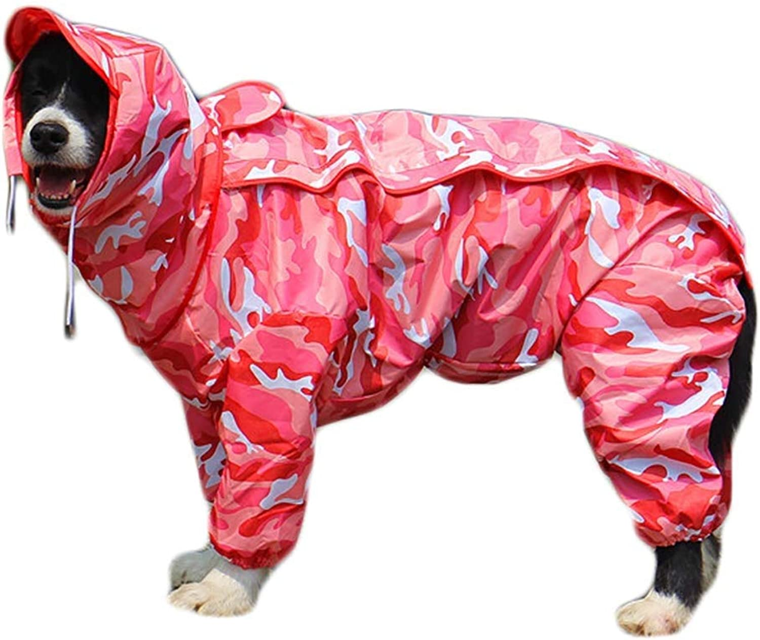Raincoat Dog Raincoat with Removable Hoodie, Outdoor Adjustable Drawstring, Magic Tape Waterproof Rain Jacket with Hood Collar Hole (color   Camouflage Powder, Size   18)