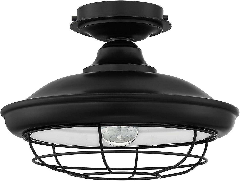 Designers Impressions Charleston Matte Black Semi-Flush Mount Ceiling Light Fixture  10002