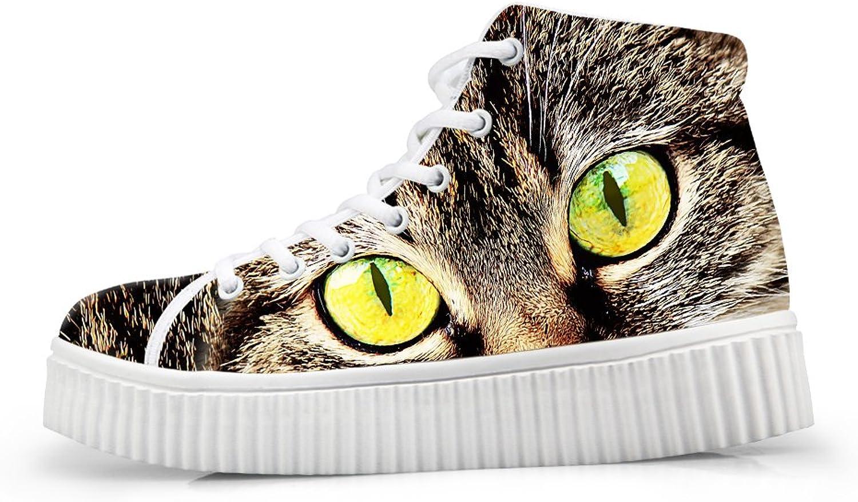HUGS IDEA Kawaii Kitten Cat Print Ankle Boots Women Platform Sneakers US11