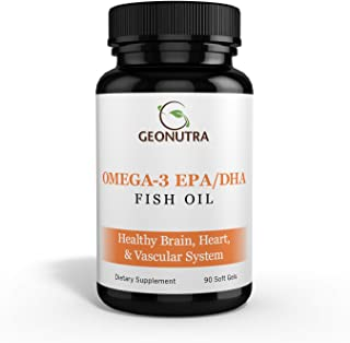 Fish Oil 2000mg | 1000mg Omega-3 (EPA 600mg+DHA 400mg) Per Serving, 90 Soft Gels; 45 Servings