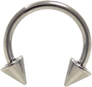 18G(1mm) Stainless Steel Circular Piercing Barbells Horseshoe Rings w/Spike Ends (Sold in Pairs)