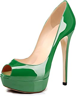 260c7b63cb9f8 Joogo Women Peep Toe Pumps Platform Thin Heel Stiletto Sandals Wedding High  Heels Slip On Dress