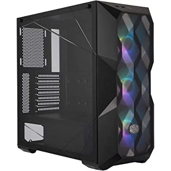 "Cooler Master MasterBox TD500 Mesh Airflow ATX Mid-Tower with Polygonal Mesh Front Panel, Crystalline Tempered Glass, E-ATX up to 10.5"", Three 120mm ARGB Fans & ARGB Lighting System"