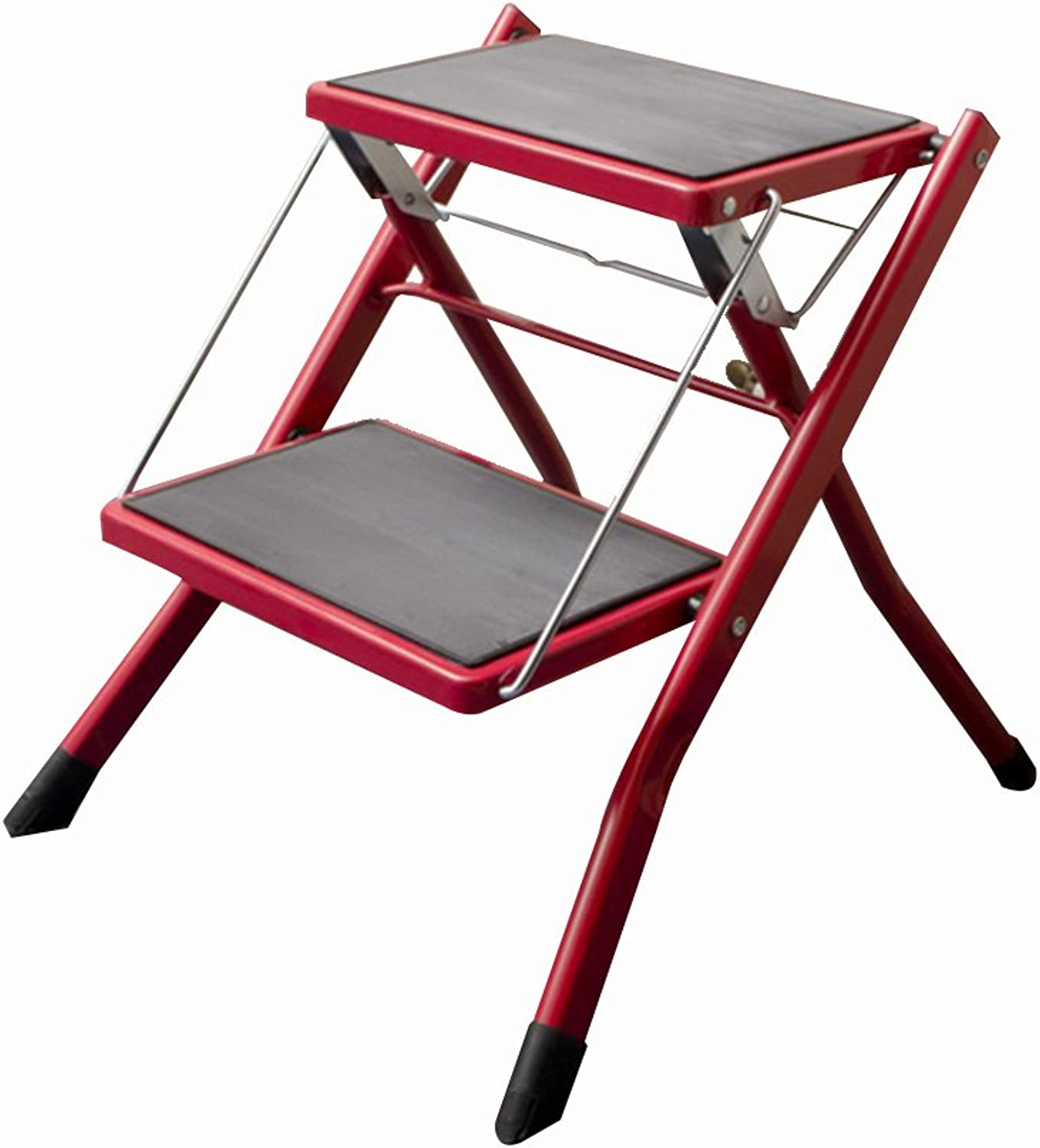GAIXIA-Ladder stool Folding Step Stool Heavy Steel Step Stool 2-Step Multi-Function Portable with Anti-Slip Mat Assembly Simple Ladder, 5 colors Optional (color   A)
