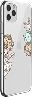 Oihxsetx Compatible for iPhone 11 Pro Max 6.5'' Case,Clear Ultra-Thin Slim Fit Soft TPU Rubber Silicone Cover Flexible Bumper Transparent Floral Pattern Shockproof Protective Case -Monkey