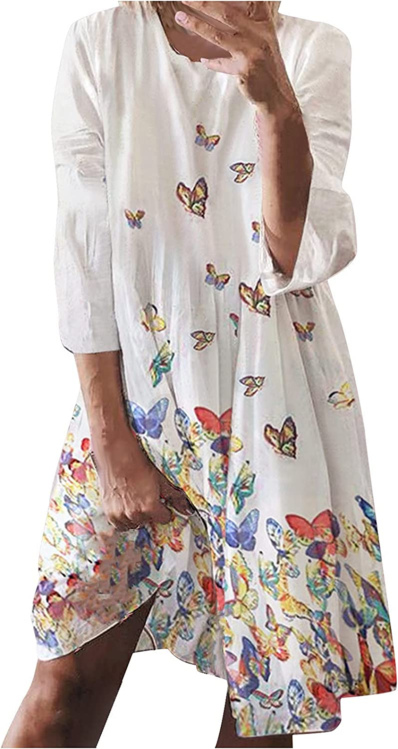 Midi Summer Dresses for Women 2021 with 3/4 Sleeves Solid Color Butterfly Printing Swing Flowy Knee-Length Dress