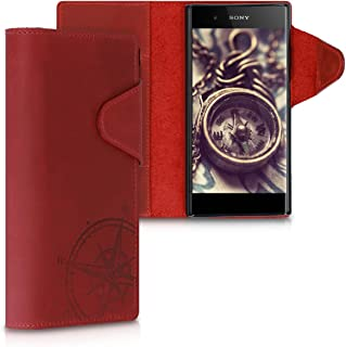 kalibri Wallet Case for Sony Xperia XA1 Plus - Genuine Leather Book Style Protective Cover with Card Slot - Dark Red