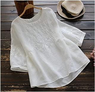 GAOXINGQU 复古民族风刺绣圆领t恤打底衫2019新款宽松纯棉百搭上衣 (Color : White, Size : 4XL)