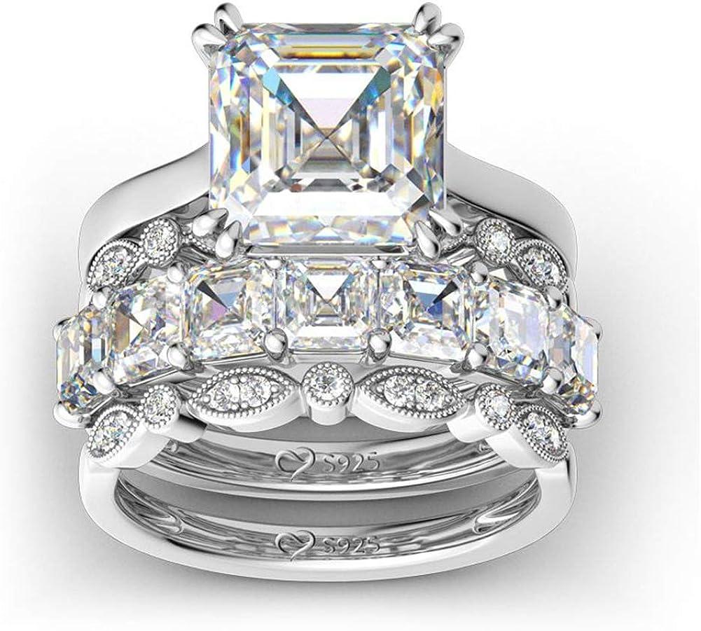 Jeulia 4PC Asscher Cut Sterling Silver C Max 41% 35% OFF OFF Cubic Set Zirconia Ring