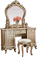 JSZMD Dressing Table Solid Wood Bedroom Furniture, Hand-Carved, 3 Organized Drawers, Champagne Silver, with Makeup Stool 1...